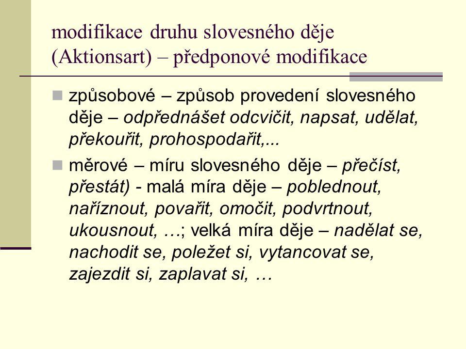 modifikace druhu slovesného děje (Aktionsart) – předponové modifikace způsobové – způsob provedení slovesného děje – odpřednášet odcvičit, napsat, udě