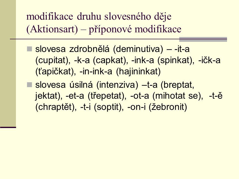 modifikace druhu slovesného děje (Aktionsart) – příponové modifikace slovesa zdrobnělá (deminutiva) – -it-a (cupitat), -k-a (capkat), -ink-a (spinkat)