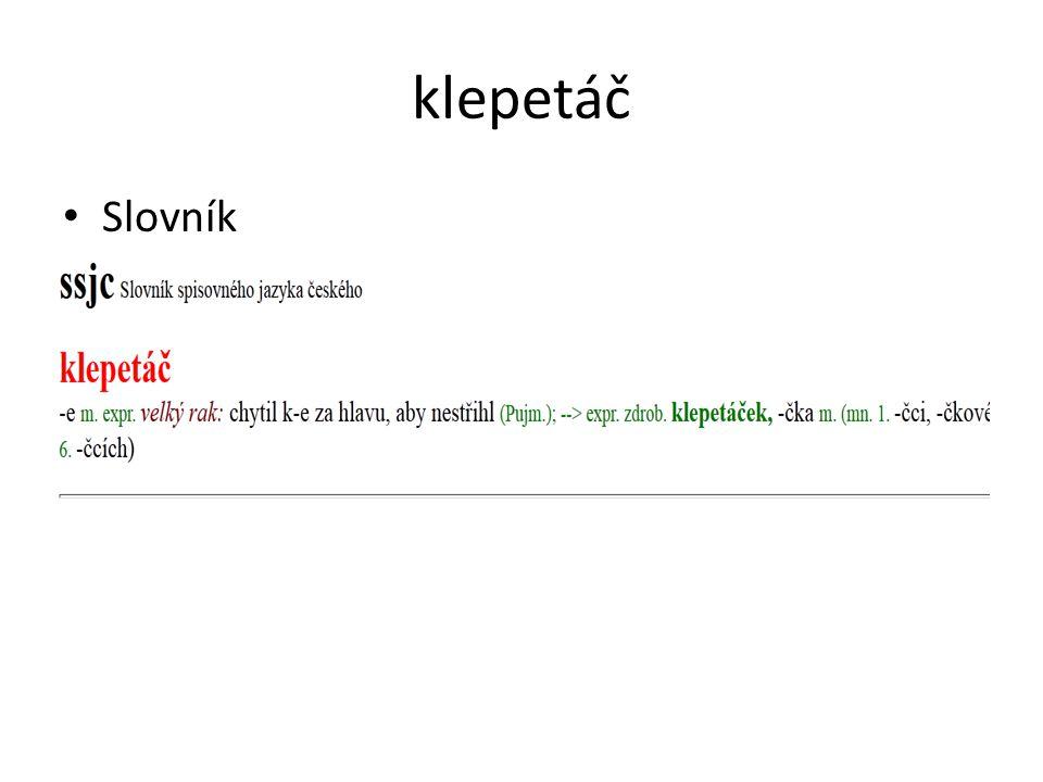 klepetáč Slovník