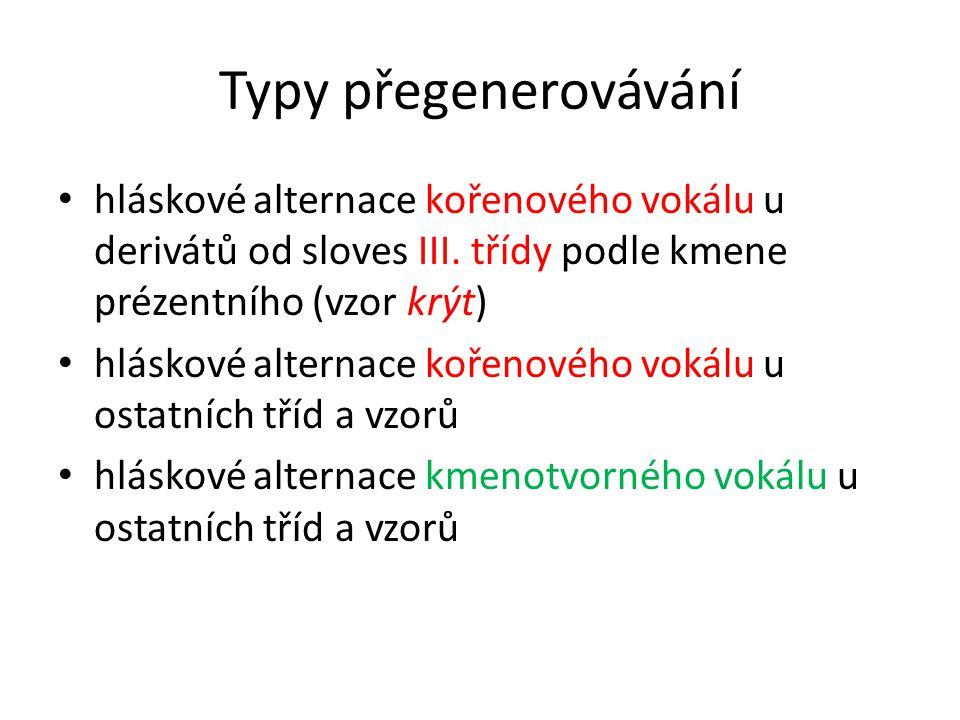 Typy přegenerovávání hláskové alternace kořenového vokálu u derivátů od sloves III.