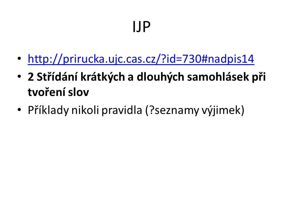 IJP http://prirucka.ujc.cas.cz/?id=730#nadpis14 2 Střídání krátkých a dlouhých samohlásek při tvoření slov Příklady nikoli pravidla (?seznamy výjimek)