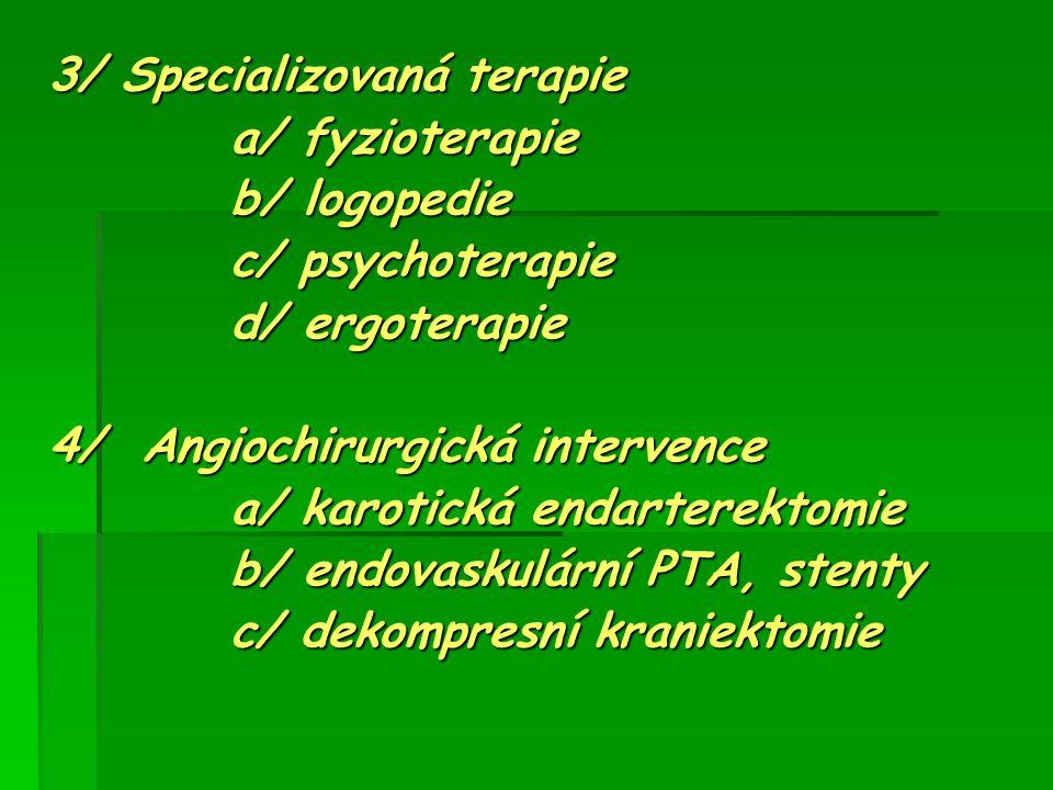 3/ Specializovaná terapie a/ fyzioterapie a/ fyzioterapie b/ logopedie b/ logopedie c/ psychoterapie c/ psychoterapie d/ ergoterapie d/ ergoterapie 4/