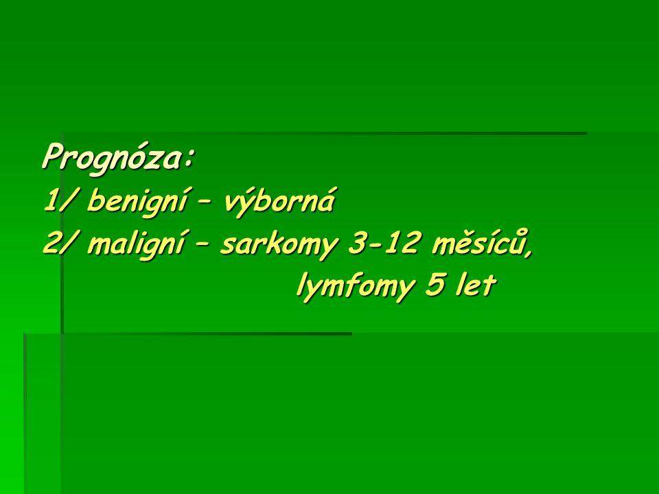 Prognóza: 1/ benigní – výborná 2/ maligní – sarkomy 3-12 měsíců, lymfomy 5 let lymfomy 5 let