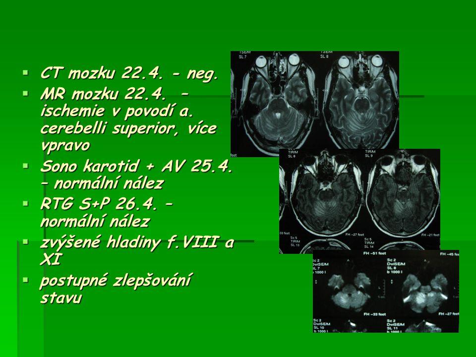  CT mozku 22.4. - neg.  MR mozku 22.4. – ischemie v povodí a. cerebelli superior, více vpravo  Sono karotid + AV 25.4. – normální nález  RTG S+P 2