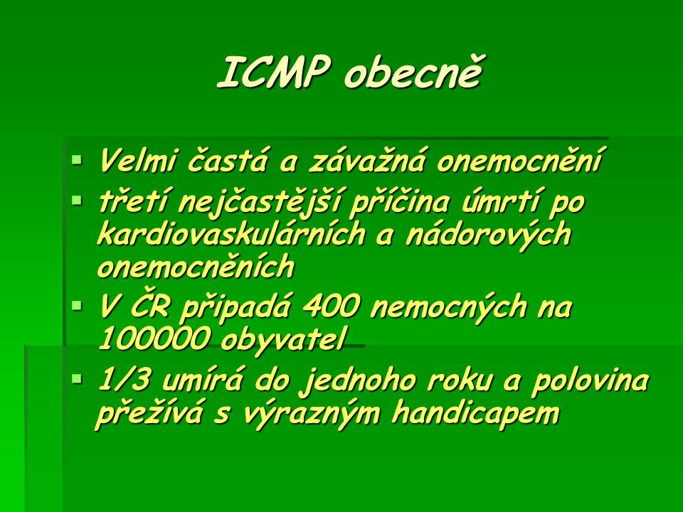 ICMP obecně  Velmi častá a závažná onemocnění  třetí nejčastější příčina úmrtí po kardiovaskulárních a nádorových onemocněních  V ČR připadá 400 ne