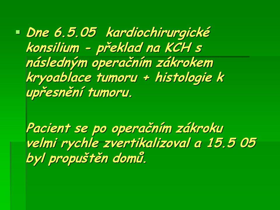 Dne 6.5.05 kardiochirurgické konsilium - překlad na KCH s následným operačním zákrokem kryoablace tumoru + histologie k upřesnění tumoru. Pacient se