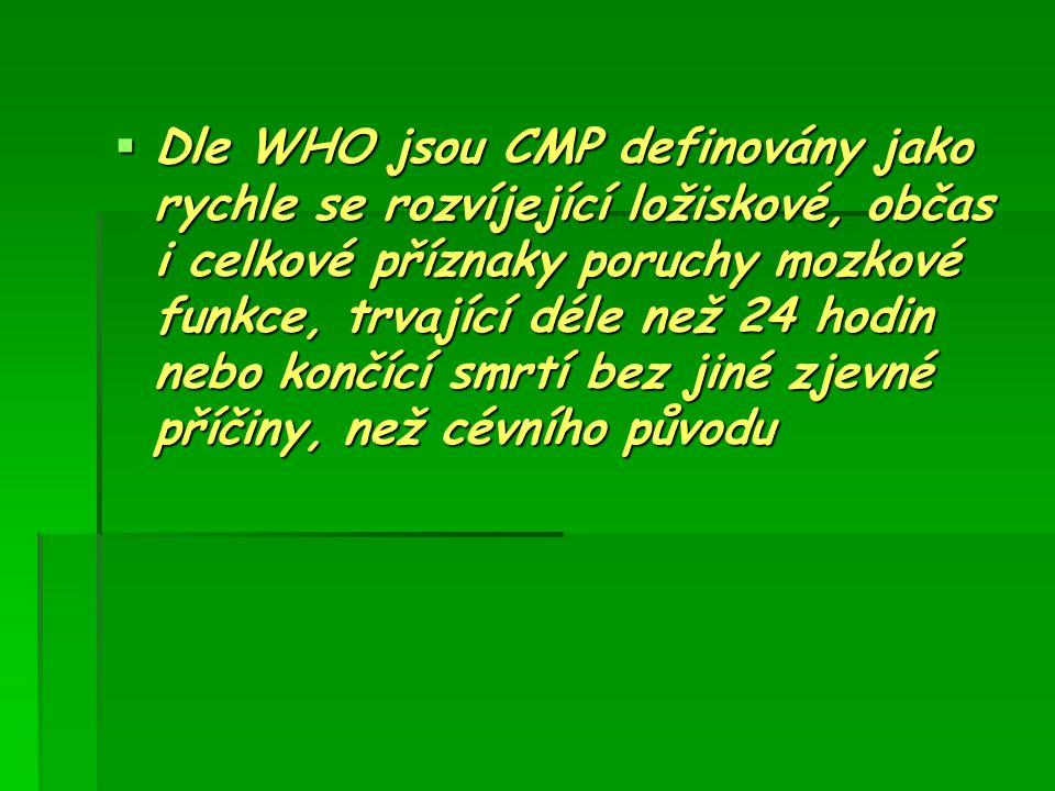  Dle WHO jsou CMP definovány jako rychle se rozvíjející ložiskové, občas i celkové příznaky poruchy mozkové funkce, trvající déle než 24 hodin nebo k