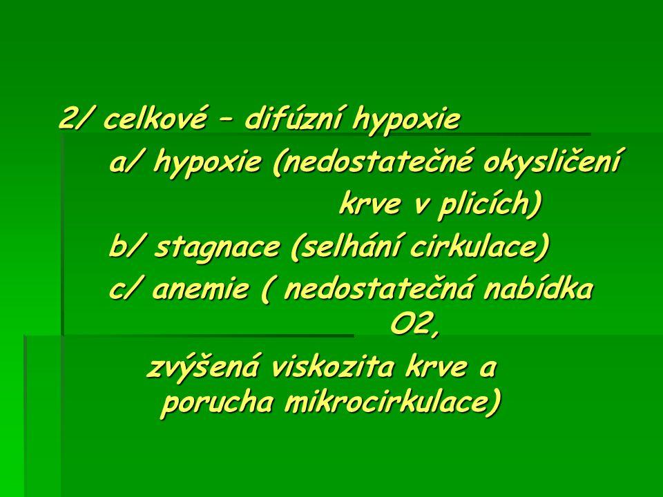 2/ celkové – difúzní hypoxie a/ hypoxie (nedostatečné okysličení a/ hypoxie (nedostatečné okysličení krve v plicích) krve v plicích) b/ stagnace (selh