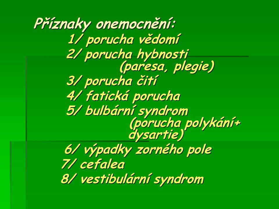 Příznaky onemocnění: 1/ porucha vědomí 1/ porucha vědomí 2/ porucha hybnosti (paresa, plegie) 2/ porucha hybnosti (paresa, plegie) 3/ porucha čití 3/