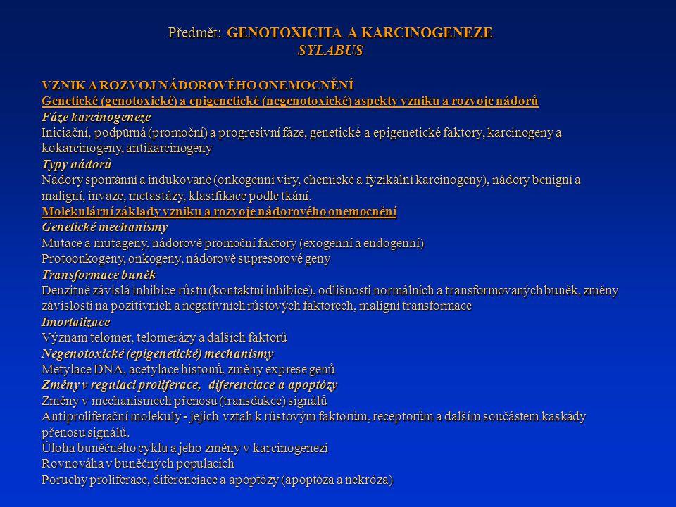 Předmět: GENOTOXICITA A KARCINOGENEZE SYLABUS VZNIK A ROZVOJ NÁDOROVÉHO ONEMOCNĚNÍ Genetické (genotoxické) a epigenetické (negenotoxické) aspekty vzni