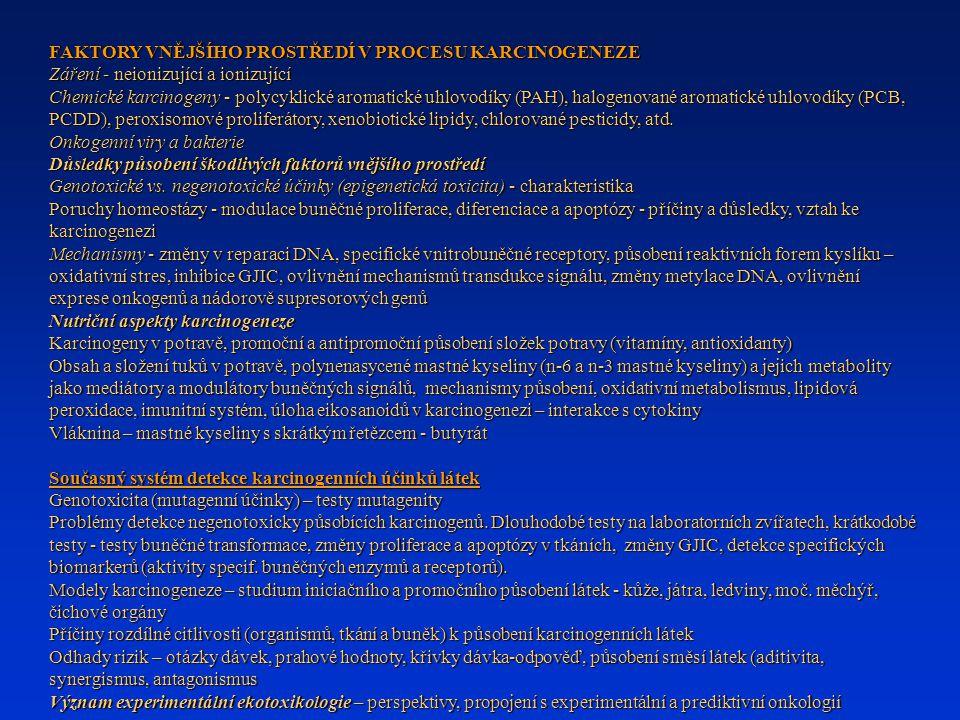 FAKTORY VNĚJŠÍHO PROSTŘEDÍ V PROCESU KARCINOGENEZE Záření - neionizující a ionizující Chemické karcinogeny - polycyklické aromatické uhlovodíky (PAH),