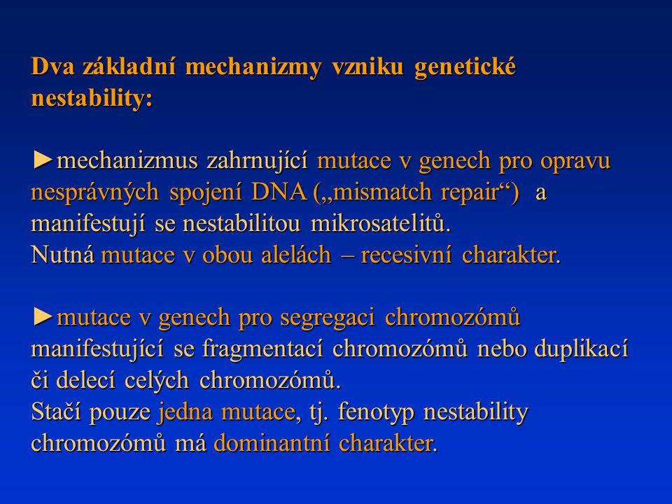 """Dva základní mechanizmy vzniku genetické nestability: ►mechanizmus zahrnující mutace v genech pro opravu nesprávných spojení DNA (""""mismatch repair"""") a"""
