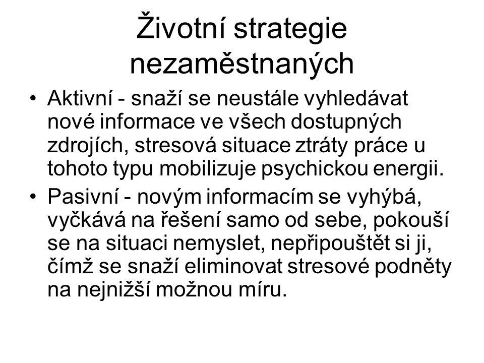 Životní strategie nezaměstnaných Aktivní - snaží se neustále vyhledávat nové informace ve všech dostupných zdrojích, stresová situace ztráty práce u t