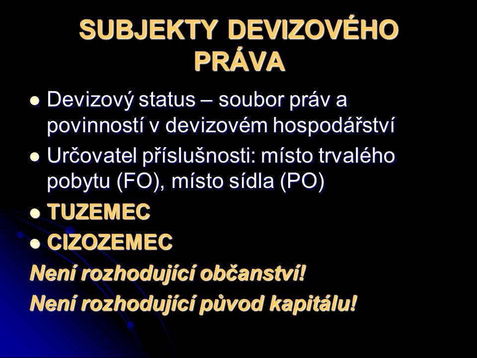 SUBJEKTY DEVIZOVÉHO PRÁVA Devizový status – soubor práv a povinností v devizovém hospodářství Devizový status – soubor práv a povinností v devizovém h