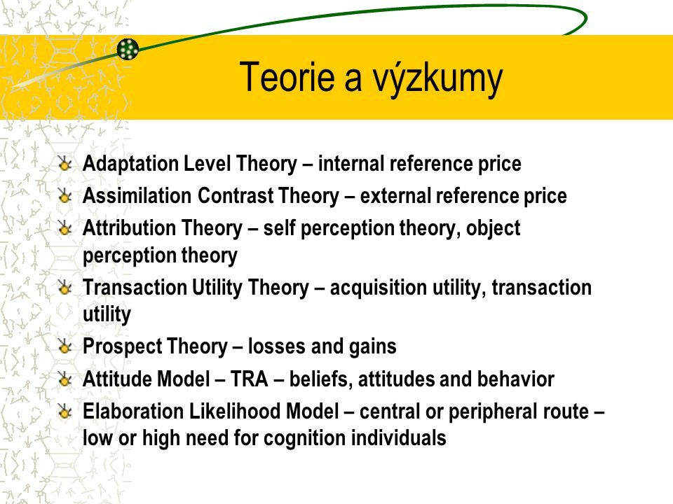 Teorie a výzkumy Adaptation Level Theory – internal reference price Assimilation Contrast Theory – external reference price Attribution Theory – self