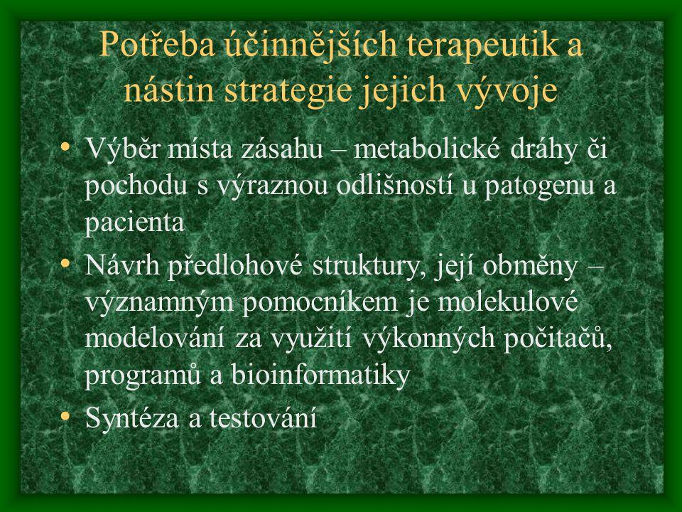 Potřeba účinnějších terapeutik a nástin strategie jejich vývoje Výběr místa zásahu – metabolické dráhy či pochodu s výraznou odlišností u patogenu a p