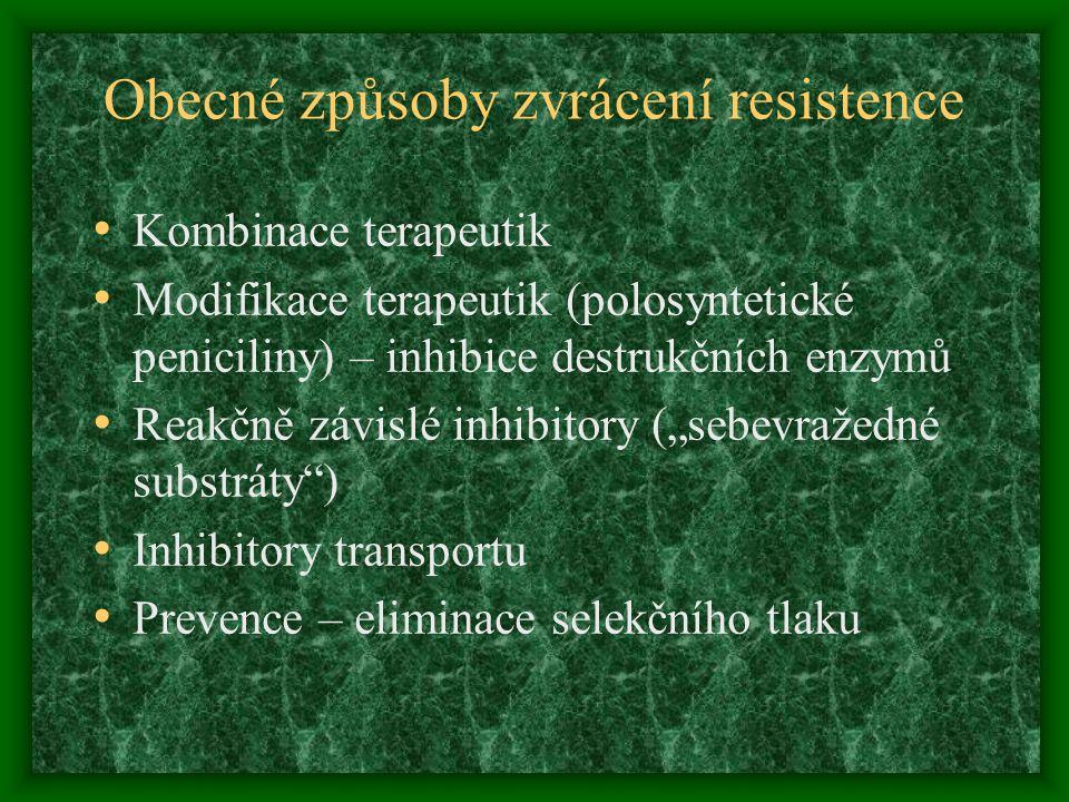 Obecné způsoby zvrácení resistence Kombinace terapeutik Modifikace terapeutik (polosyntetické peniciliny) – inhibice destrukčních enzymů Reakčně závis