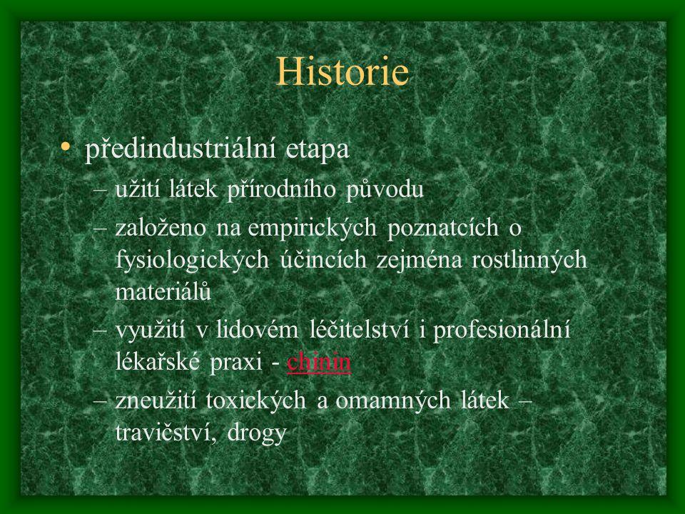 Historie předindustriální etapa –užití látek přírodního původu –založeno na empirických poznatcích o fysiologických účincích zejména rostlinných mater