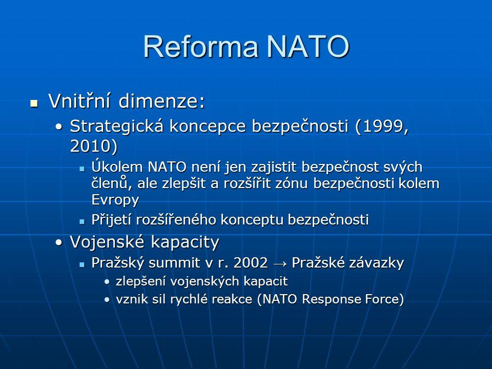 Reforma NATO Vnitřní dimenze: Vnitřní dimenze: Strategická koncepce bezpečnosti (1999, 2010)Strategická koncepce bezpečnosti (1999, 2010) Úkolem NATO není jen zajistit bezpečnost svých členů, ale zlepšit a rozšířit zónu bezpečnosti kolem Evropy Úkolem NATO není jen zajistit bezpečnost svých členů, ale zlepšit a rozšířit zónu bezpečnosti kolem Evropy Přijetí rozšířeného konceptu bezpečnosti Přijetí rozšířeného konceptu bezpečnosti Vojenské kapacityVojenské kapacity Pražský summit v r.