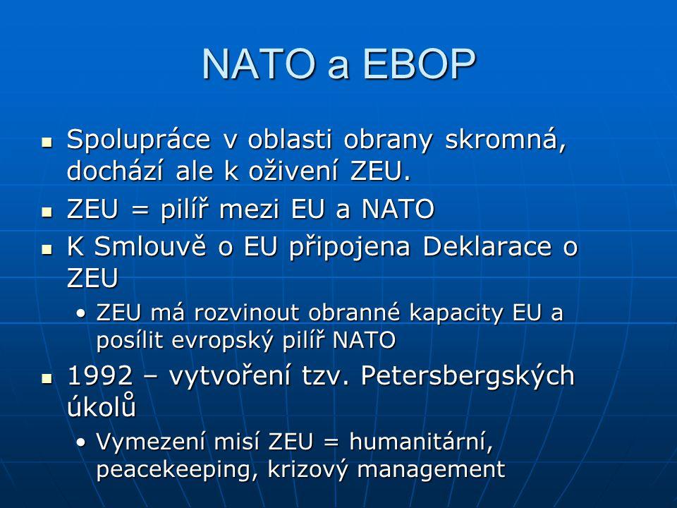 NATO a EBOP Spolupráce v oblasti obrany skromná, dochází ale k oživení ZEU.