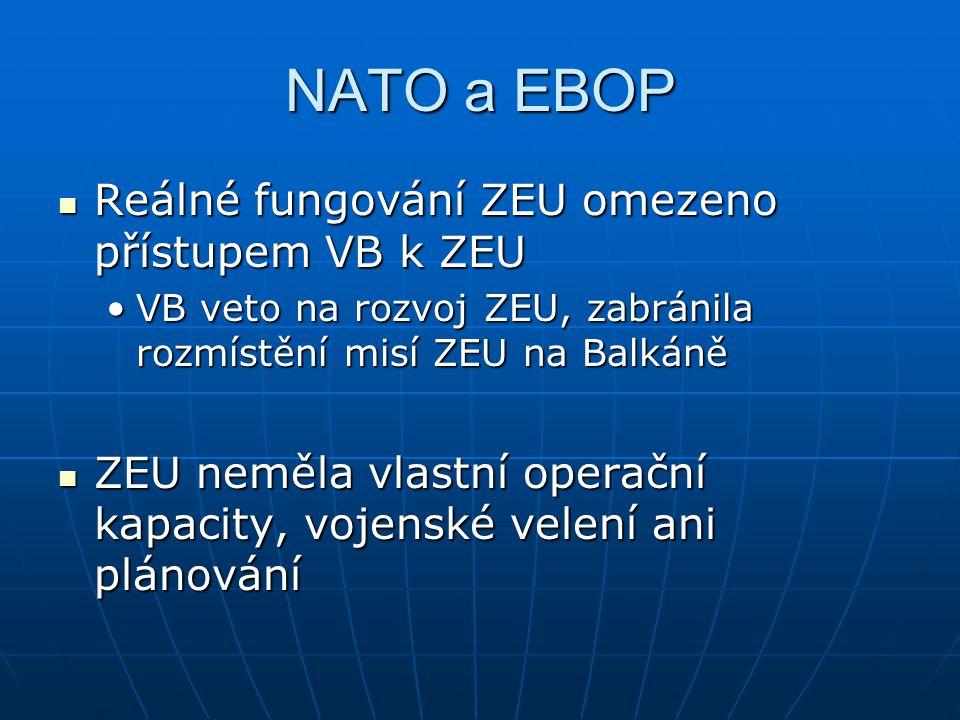 NATO a EBOP Reálné fungování ZEU omezeno přístupem VB k ZEU Reálné fungování ZEU omezeno přístupem VB k ZEU VB veto na rozvoj ZEU, zabránila rozmístění misí ZEU na BalkáněVB veto na rozvoj ZEU, zabránila rozmístění misí ZEU na Balkáně ZEU neměla vlastní operační kapacity, vojenské velení ani plánování ZEU neměla vlastní operační kapacity, vojenské velení ani plánování
