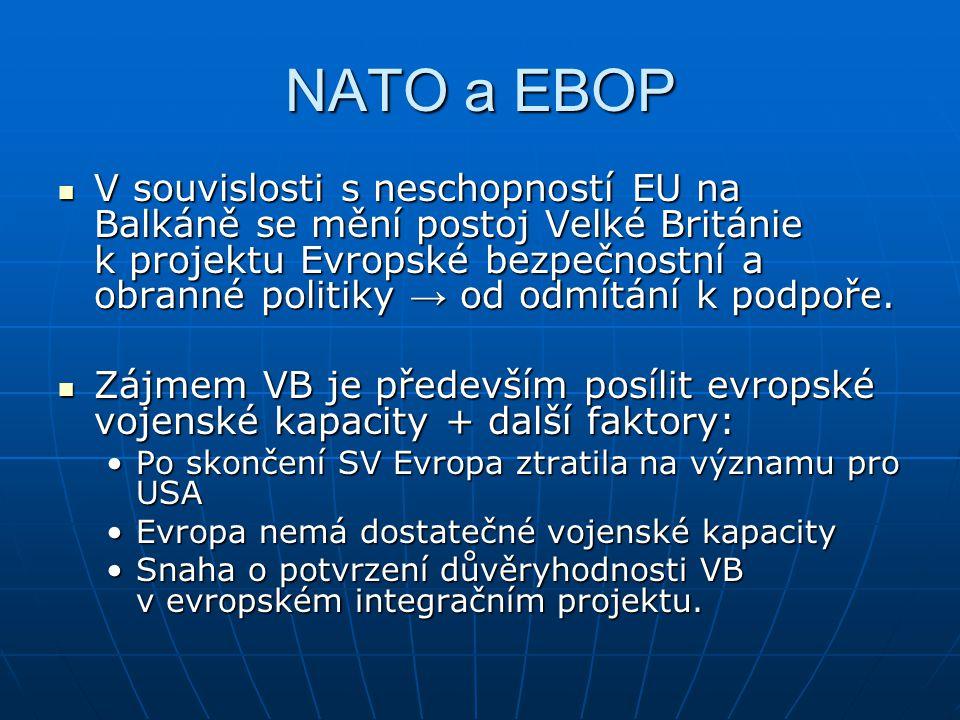 NATO a EBOP V souvislosti s neschopností EU na Balkáně se mění postoj Velké Británie k projektu Evropské bezpečnostní a obranné politiky → od odmítání k podpoře.
