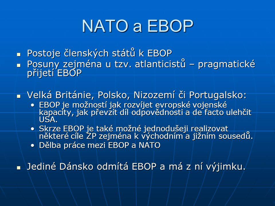 NATO a EBOP Postoje členských států k EBOP Postoje členských států k EBOP Posuny zejména u tzv.