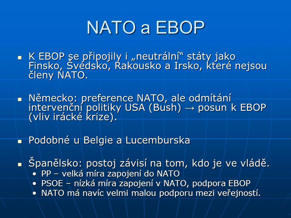"""NATO a EBOP K EBOP se připojily i """"neutrální státy jako Finsko, Švédsko, Rakousko a Irsko, které nejsou členy NATO."""