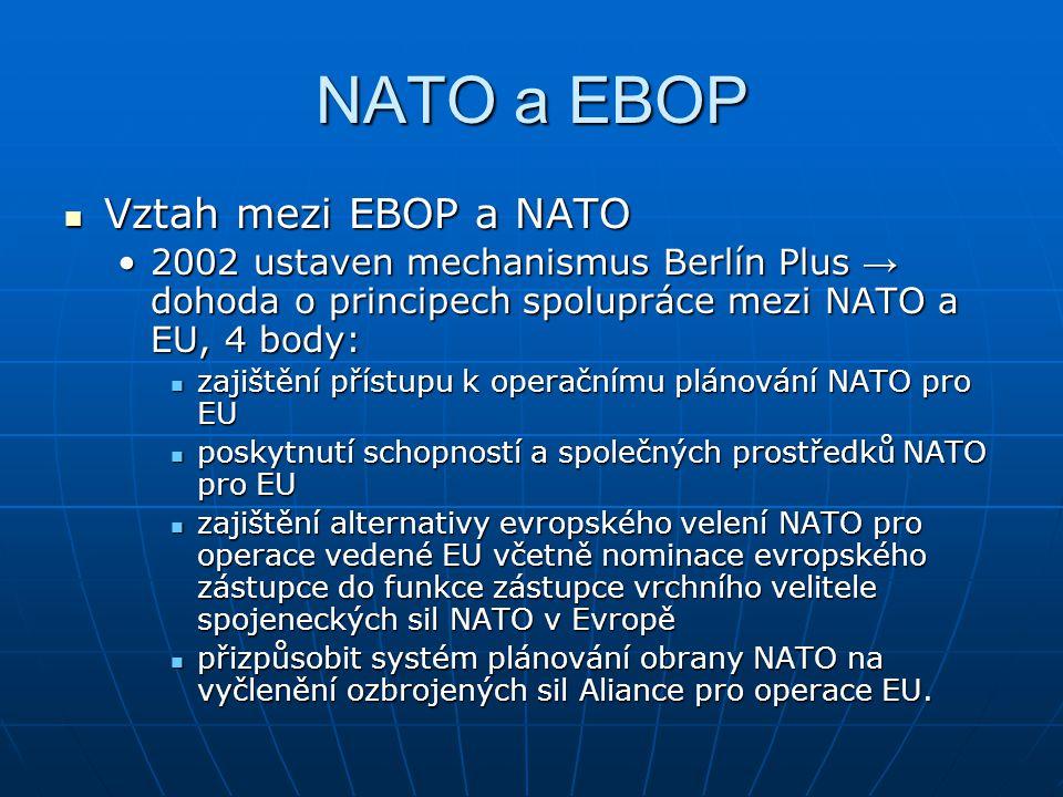 NATO a EBOP Vztah mezi EBOP a NATO Vztah mezi EBOP a NATO 2002 ustaven mechanismus Berlín Plus → dohoda o principech spolupráce mezi NATO a EU, 4 body:2002 ustaven mechanismus Berlín Plus → dohoda o principech spolupráce mezi NATO a EU, 4 body: zajištění přístupu k operačnímu plánování NATO pro EU zajištění přístupu k operačnímu plánování NATO pro EU poskytnutí schopností a společných prostředků NATO pro EU poskytnutí schopností a společných prostředků NATO pro EU zajištění alternativy evropského velení NATO pro operace vedené EU včetně nominace evropského zástupce do funkce zástupce vrchního velitele spojeneckých sil NATO v Evropě zajištění alternativy evropského velení NATO pro operace vedené EU včetně nominace evropského zástupce do funkce zástupce vrchního velitele spojeneckých sil NATO v Evropě přizpůsobit systém plánování obrany NATO na vyčlenění ozbrojených sil Aliance pro operace EU.
