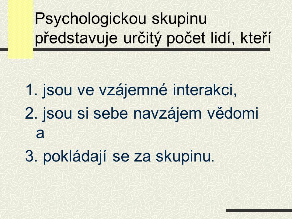Psychologickou skupinu představuje určitý počet lidí, kteří 1. jsou ve vzájemné interakci, 2. jsou si sebe navzájem vědomi a 3. pokládají se za skupin