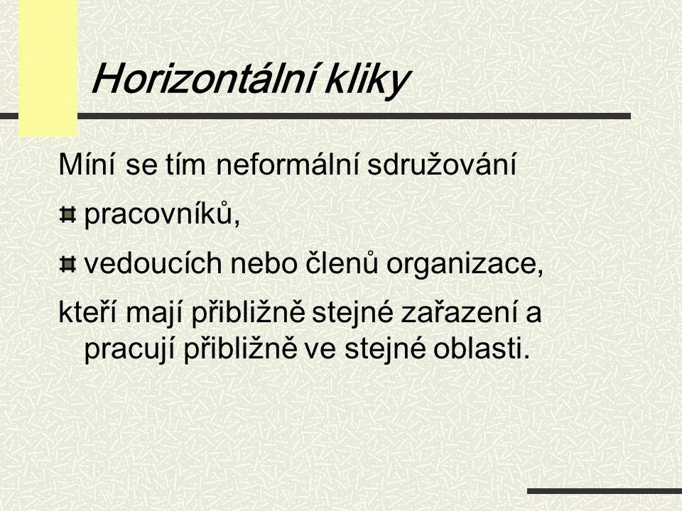 Horizontální kliky Míní se tím neformální sdružování pracovníků, vedoucích nebo členů organizace, kteří mají přibližně stejné zařazení a pracují přibl