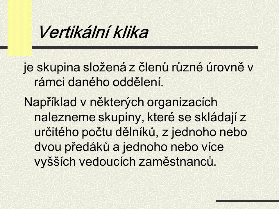 Vertikální klika je skupina složená z členů různé úrovně v rámci daného oddělení. Například v některých organizacích nalezneme skupiny, které se sklád