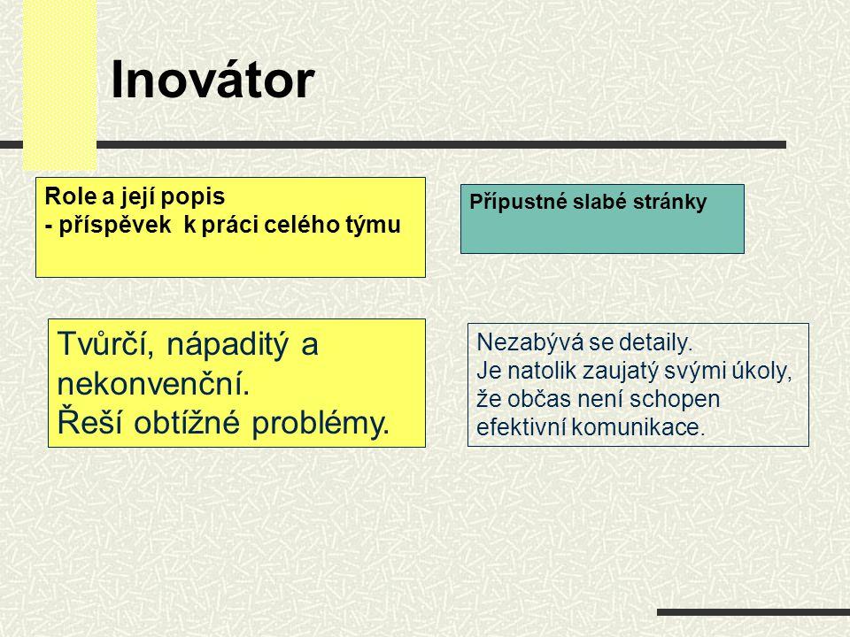 Inovátor Tvůrčí, nápaditý a nekonvenční. Řeší obtížné problémy. Nezabývá se detaily. Je natolik zaujatý svými úkoly, že občas není schopen efektivní k