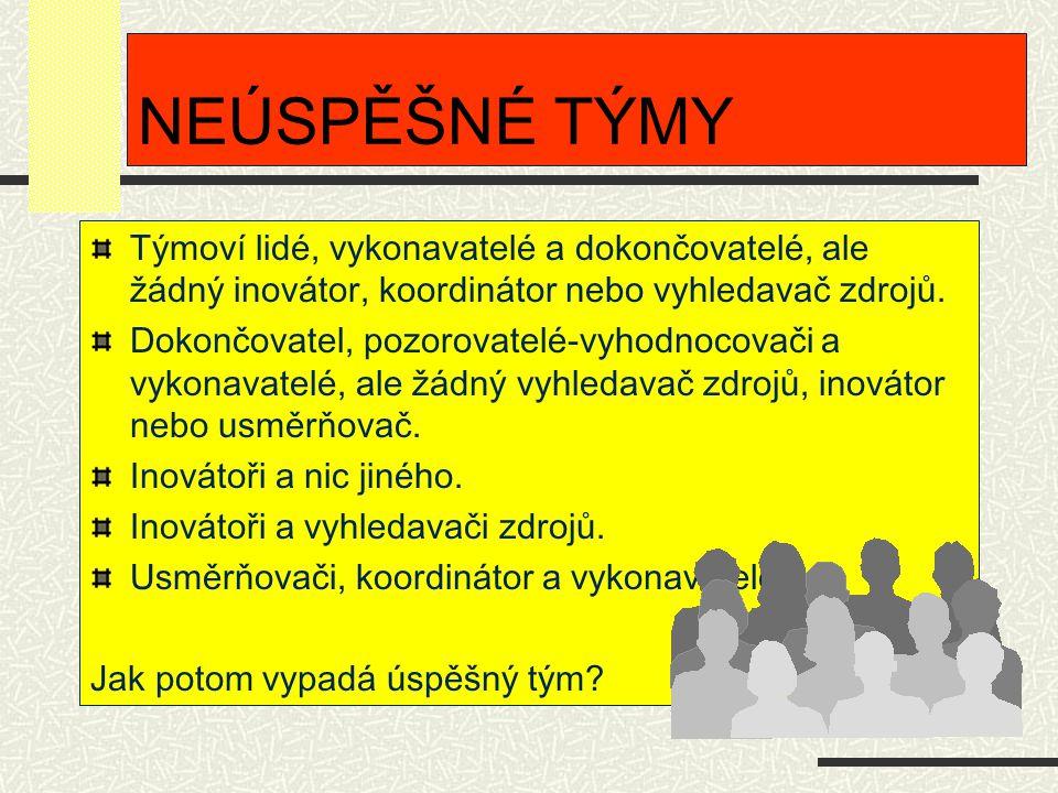 NEÚSPĚŠNÉ TÝMY Týmoví lidé, vykonavatelé a dokončovatelé, ale žádný inovátor, koordinátor nebo vyhledavač zdrojů. Dokončovatel, pozorovatelé-vyhodnoco