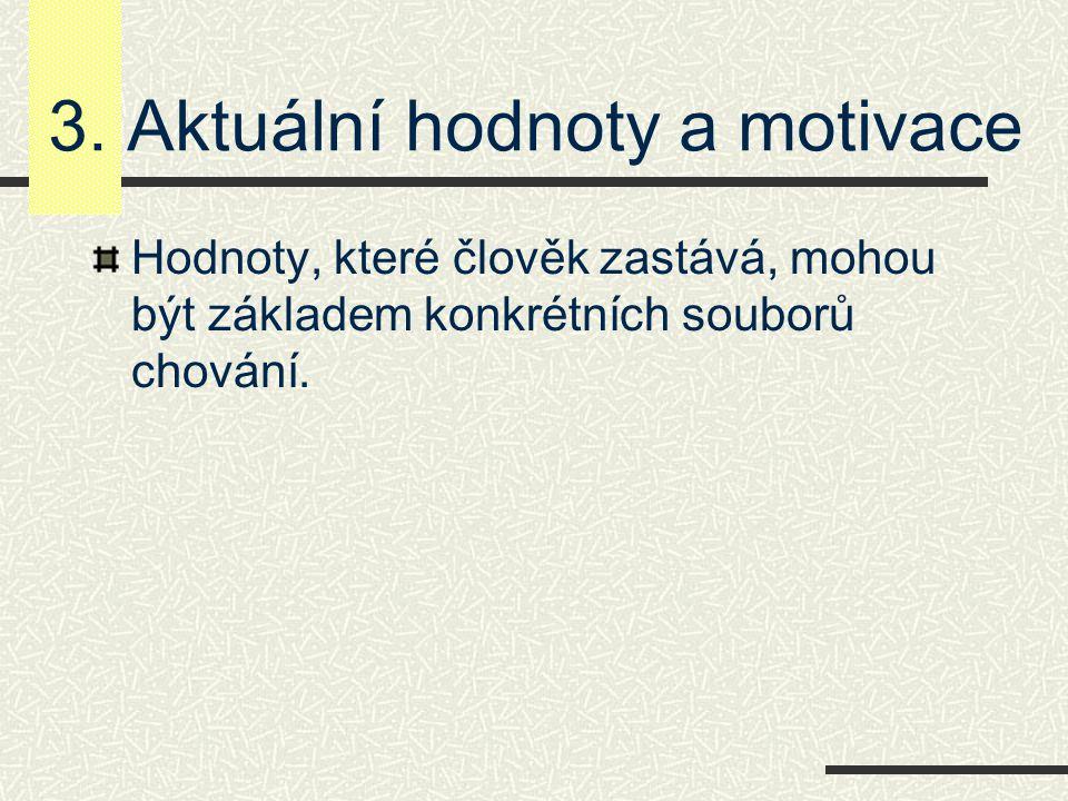 3. Aktuální hodnoty a motivace Hodnoty, které člověk zastává, mohou být základem konkrétních souborů chování.