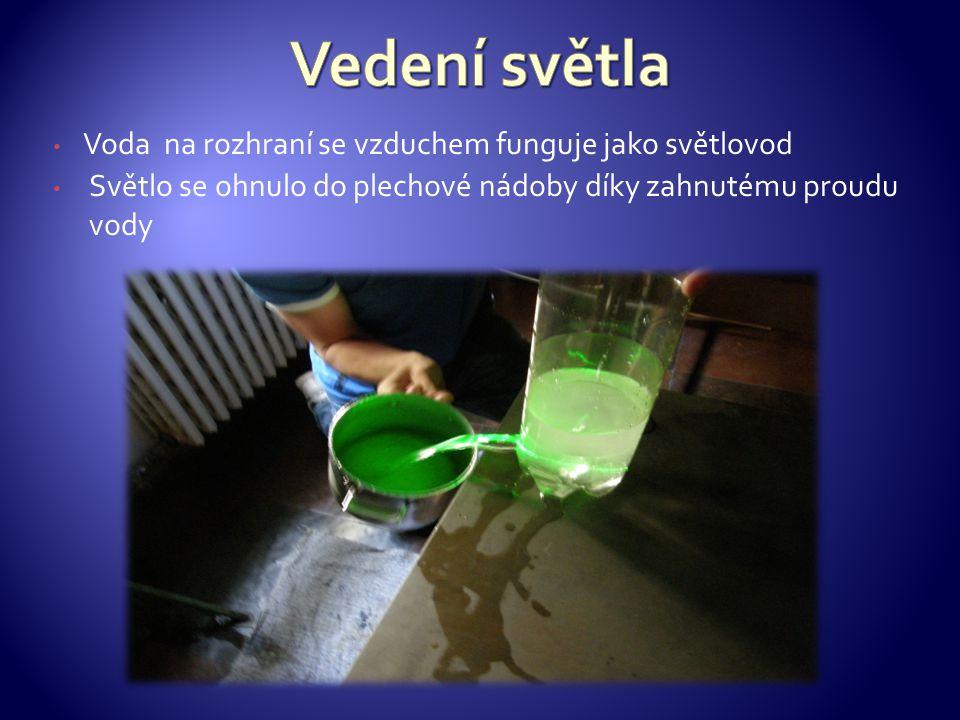 Voda na rozhraní se vzduchem funguje jako světlovod Světlo se ohnulo do plechové nádoby díky zahnutému proudu vody