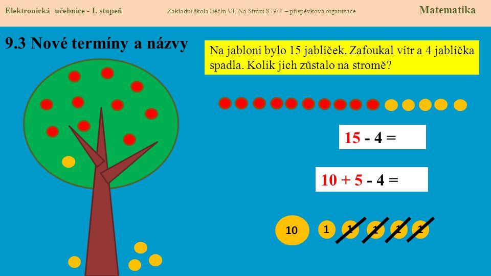 9.3 Nové termíny a názvy Elektronická učebnice - I. stupeň Základní škola Děčín VI, Na Stráni 879/2 – příspěvková organizace Matematika Na jabloni byl