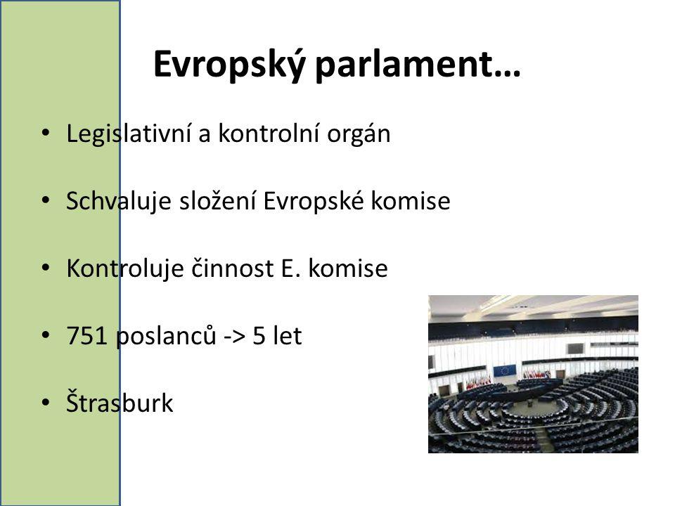 Evropský parlament… Legislativní a kontrolní orgán Schvaluje složení Evropské komise Kontroluje činnost E. komise 751 poslanců -> 5 let Štrasburk