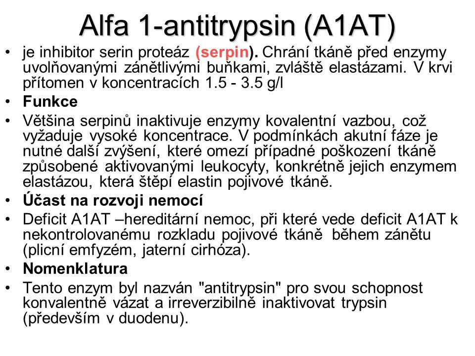 Alfa 1-antitrypsin (A1AT) je inhibitor serin proteáz (serpin). Chrání tkáně před enzymy uvolňovanými zánětlivými buňkami, zvláště elastázami. V krvi p