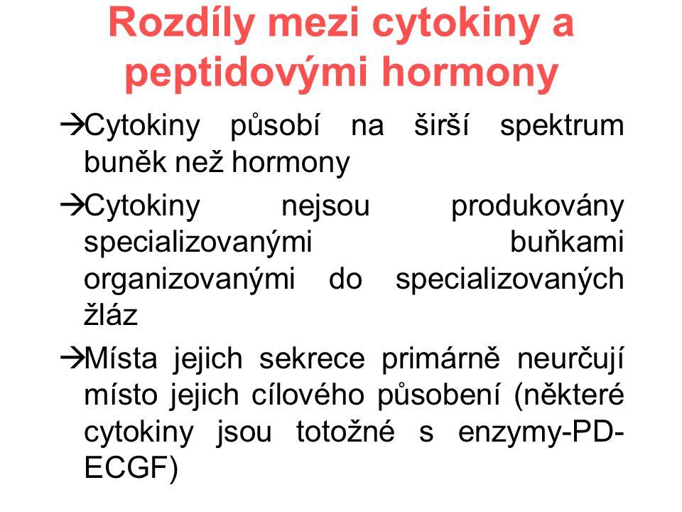 Rozdíly mezi cytokiny a peptidovými hormony  Cytokiny působí na širší spektrum buněk než hormony  Cytokiny nejsou produkovány specializovanými buňkami organizovanými do specializovaných žláz  Místa jejich sekrece primárně neurčují místo jejich cílového působení (některé cytokiny jsou totožné s enzymy-PD- ECGF)