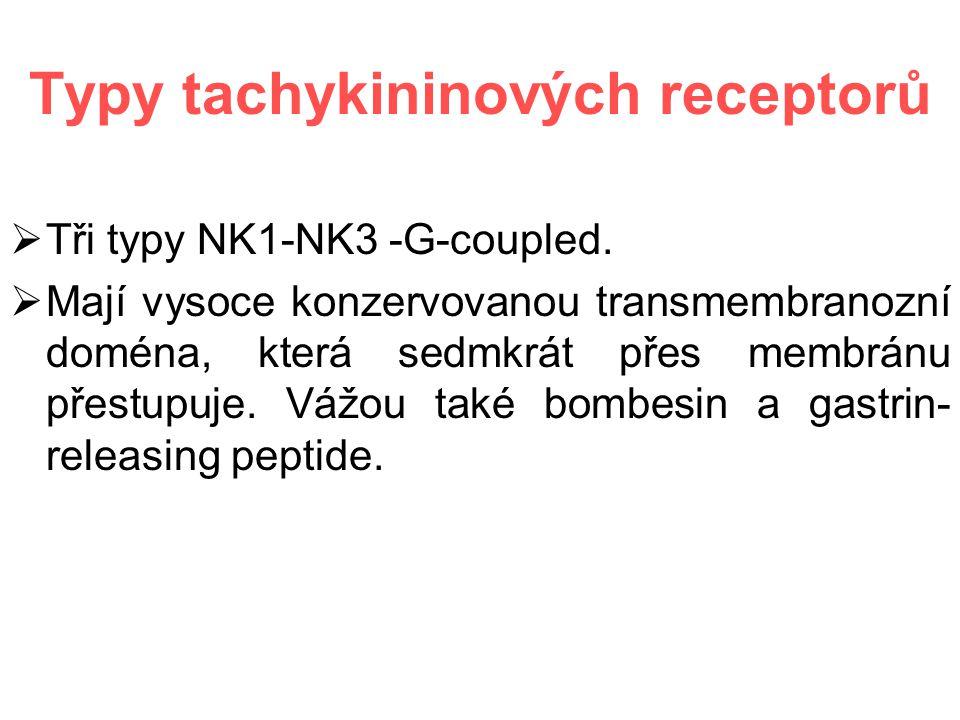 Typy tachykininových receptorů  Tři typy NK1-NK3 -G-coupled.