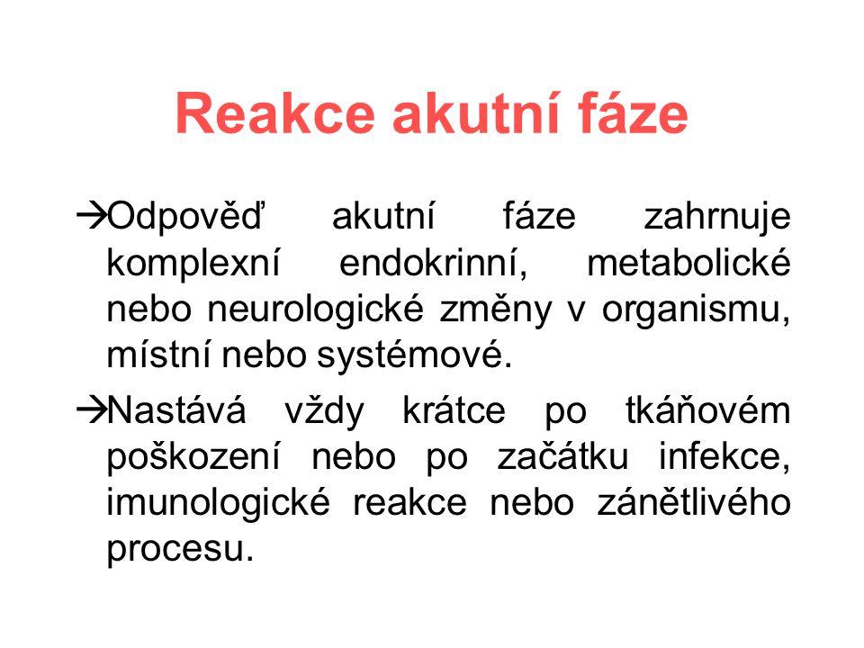 Reakce akutní fáze  Odpověď akutní fáze zahrnuje komplexní endokrinní, metabolické nebo neurologické změny v organismu, místní nebo systémové.
