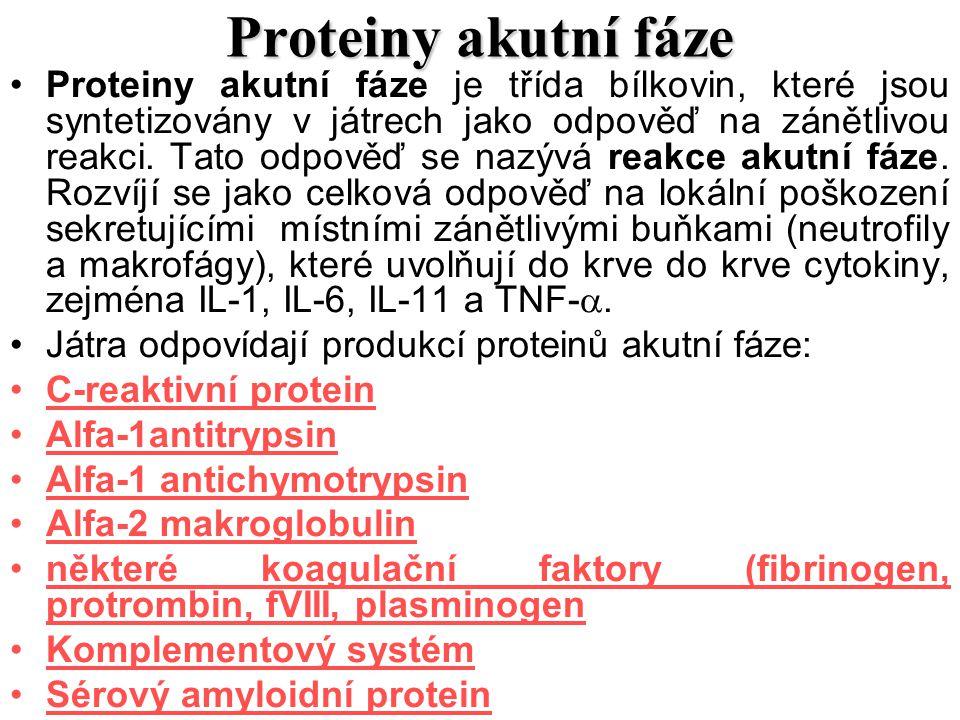 Proteiny akutní fáze Proteiny akutní fáze je třída bílkovin, které jsou syntetizovány v játrech jako odpověď na zánětlivou reakci. Tato odpověď se naz