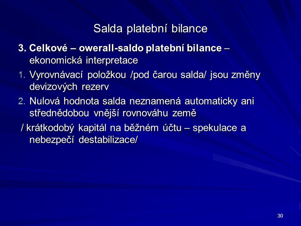 Salda platební bilance 3. Celkové – owerall-saldo platební bilance – ekonomická interpretace 1.