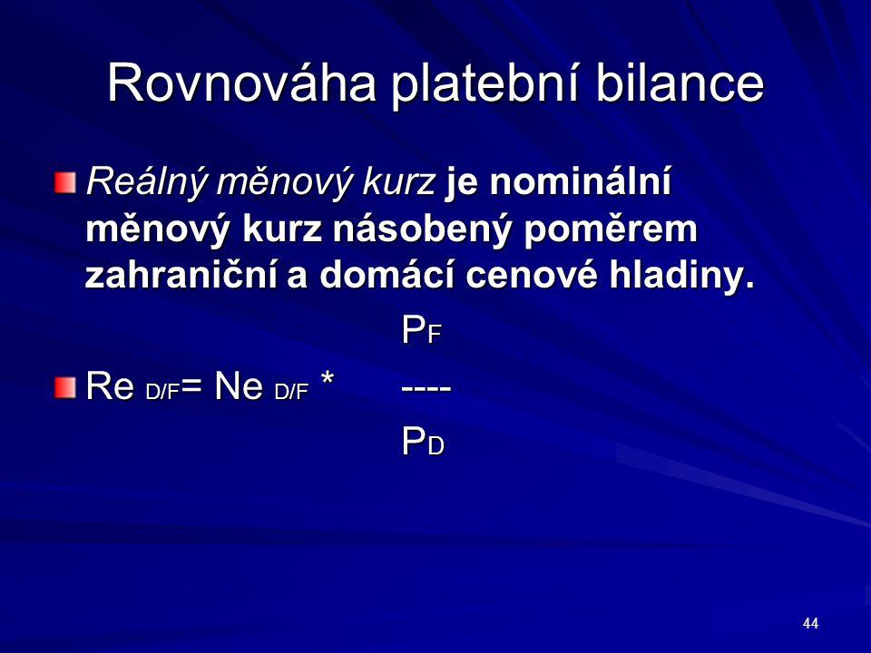 Rovnováha platební bilance Reálný měnový kurz je nominální měnový kurz násobený poměrem zahraniční a domácí cenové hladiny.