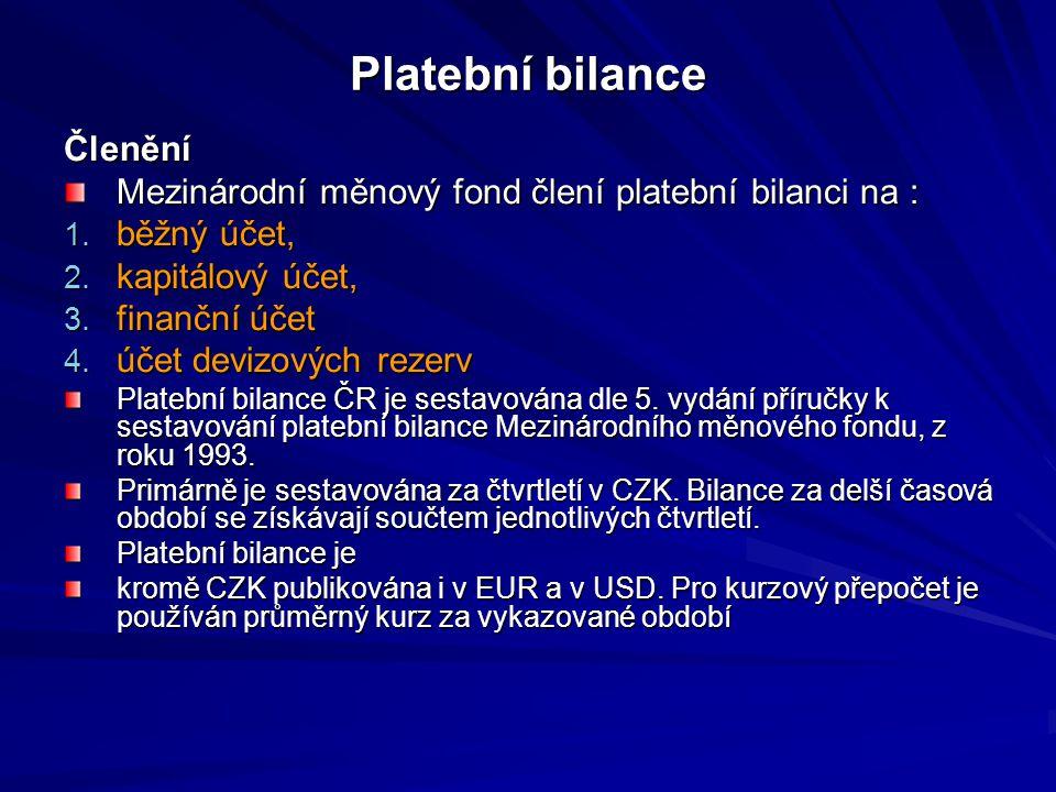 Platební bilance Členění Mezinárodní měnový fond člení platební bilanci na : 1.