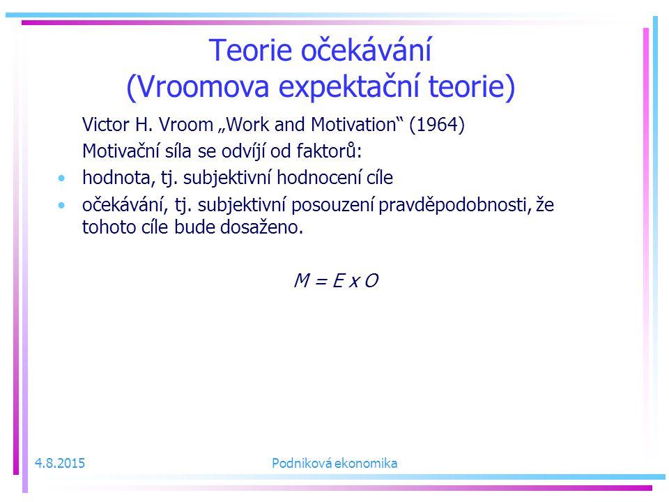 4.8.2015Podniková ekonomika Teorie očekávání (Vroomova expektační teorie) Victor H.