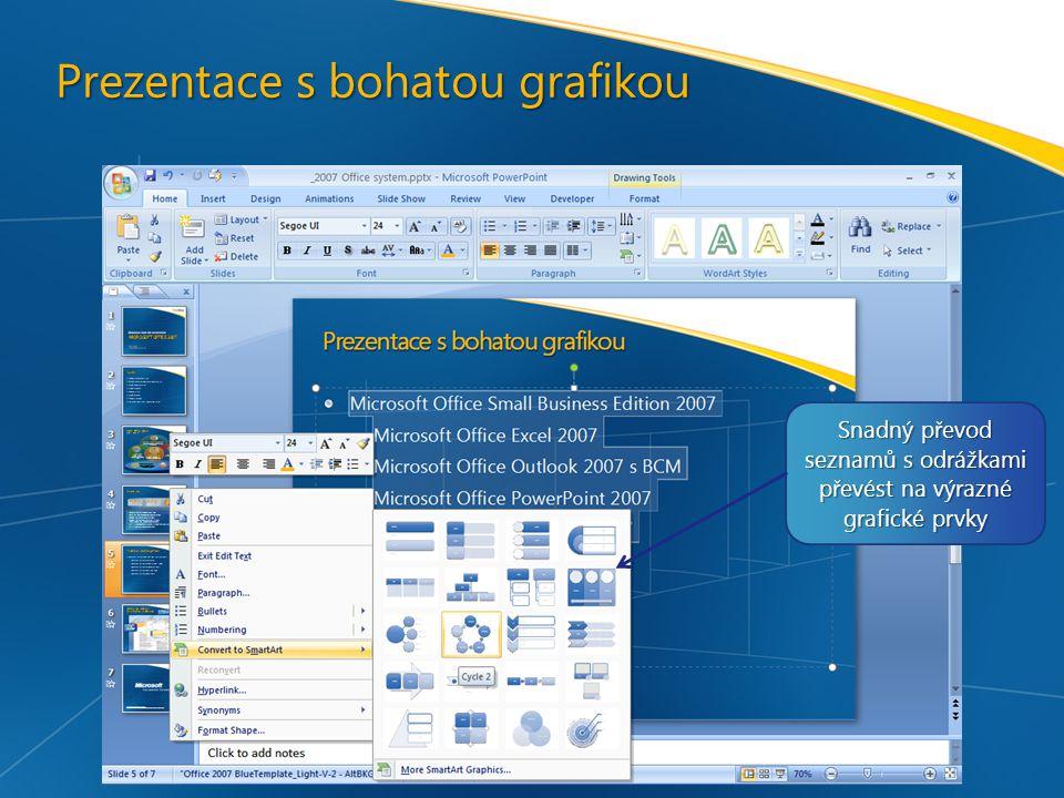 Prezentace s bohatou grafikou Snadný převod seznamů s odrážkami převést na výrazné grafické prvky