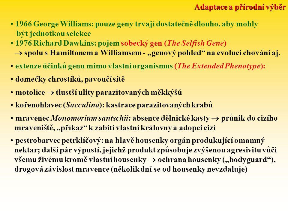 """Adaptace a přírodní výběr 1966 George Williams: pouze geny trvají dostatečně dlouho, aby mohly být jednotkou selekce 1976 Richard Dawkins: pojem sobecký gen (The Selfish Gene)  spolu s Hamiltonem a Williamsem - """"genový pohled na evoluci chování aj."""