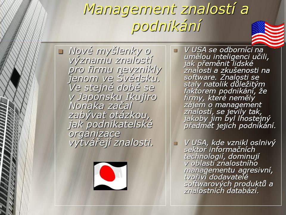 Management znalostí a podnikání Nové myšlenky o významu znalostí pro firmu nevznikly jenom ve Švédsku. Ve stejné době se v Japonsku Ikujiro Nonaka zač
